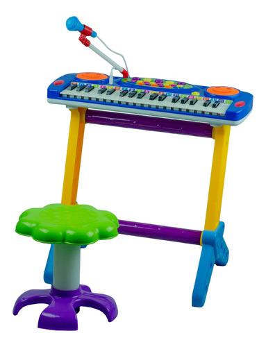 Piano Azul Infantil Banquinho Microfone Musical 4 Ritmos