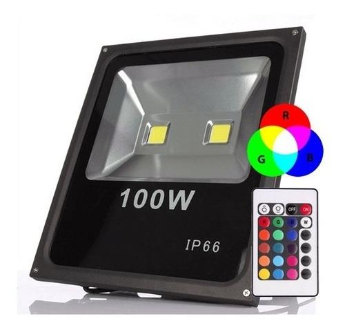 Refletor 100w Rgb Colorido Holofote Led Bivolt Slim Ip66