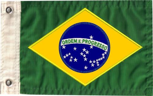 Bandeira Para Moto Do Brasil Bordada Dupla Face
