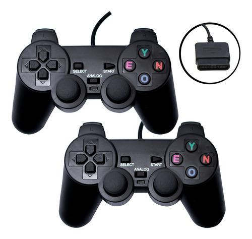 Kit Com Dois Controles Joystick Playstation 2 Analógico Ps2