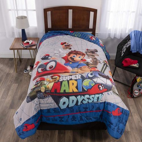 Mario Bros Odyssey Edredon 2 Plazas - Original - Jesus María