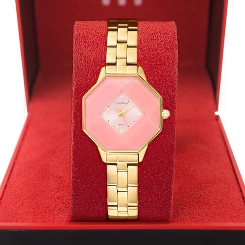 Relógio Mondaine Dourado Rosa Strass Octágono Original Nfe