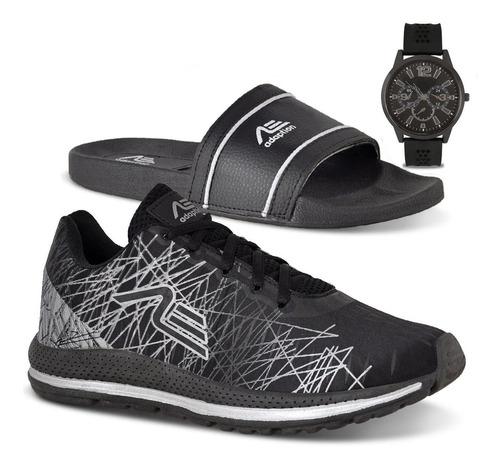 Tênis Masculino Spider Caminhada + Chinelo + Relógio