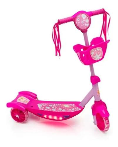 Patinete Infantil 3 Rodas Meninas Com Cesta Luz E Som Lindo
