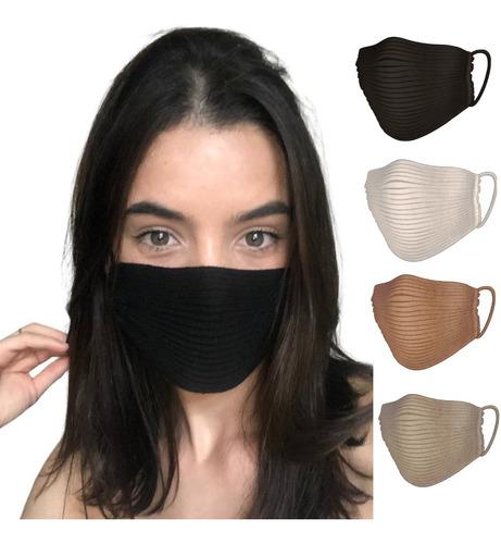 4 Máscaras Tricô Tricot Croche Canelado Blogueira Envio Hoje