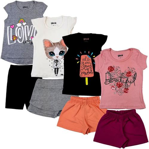 Kit 12 Roupa Infantil Feminina  Atacado 6 Blusas + 6 Bermuda