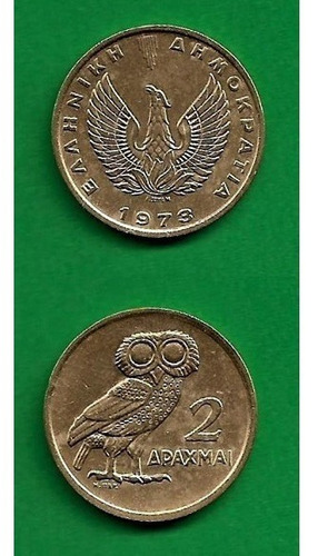 Grr-moneda De Grecia 2 Drachmai 1973 - Búho Y Ave Fénix