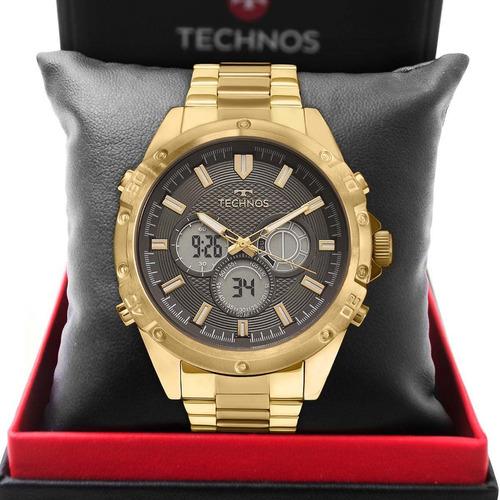 Relógio Technos Masculino Dourado Performance Original Nf-e