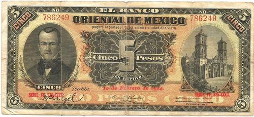 Billete De 5 Pesos De Puebla (usado)