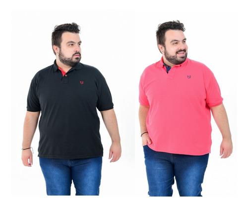 Kit 5 Camisa Masculina Polo Plus Size Extra Grande G1 G2 G3