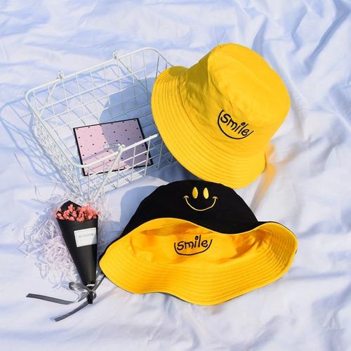 Bone Chapeu Bucket Hat Smile Sorriso Dupla Face Amarelo Top