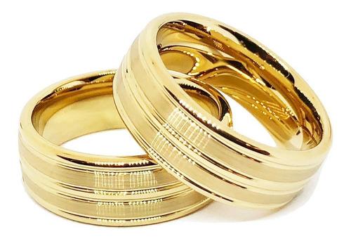 Alianças De Tungstênio 8mm Banhadas A Ouro 18k Amor Eterno