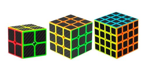 Kit Cubo Magico 2x2x2+3x3x3+4x4x4 Profissional Carbon2