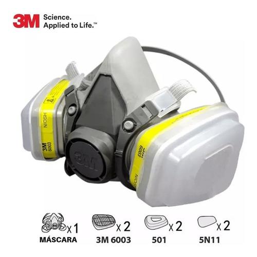 Kit Respirador 3m 6200 Mc Filtro Pinturas, Gases Particulado