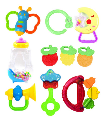 Brinquedo Educacional Infantil Bebê Kit 10 Chocalho Mordedor