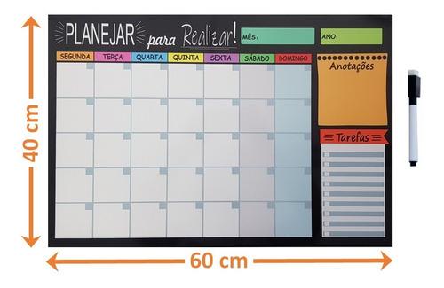 Quadro Lousa Planejador Temático Agenda 40x60 Cm Metal