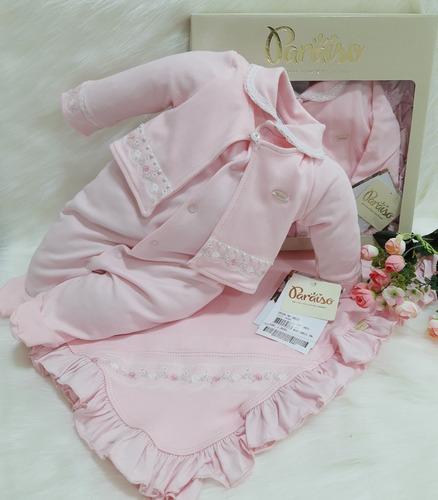 Saida Maternidade Suedine Luxo Paraiso Bebê Menina Cod 10521