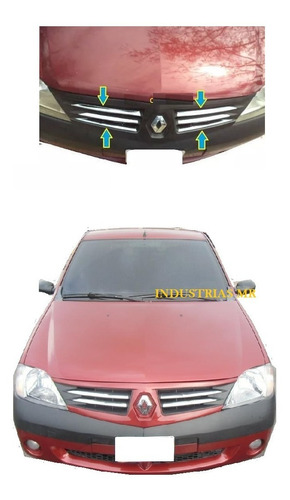 Renault Logan Platinas Frontales Cromadas 6 Piezas