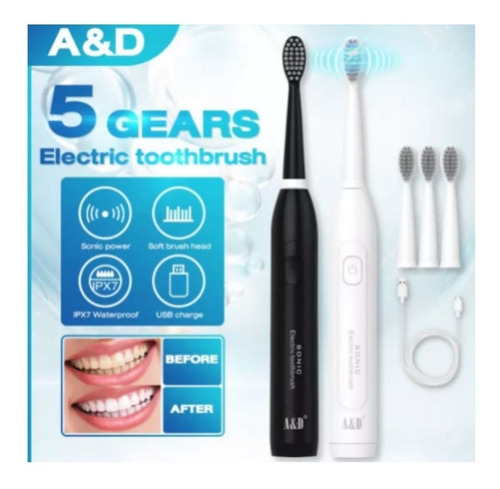 Cepillo Dental Electrico Dientes Recargable Con 3 Cabezales