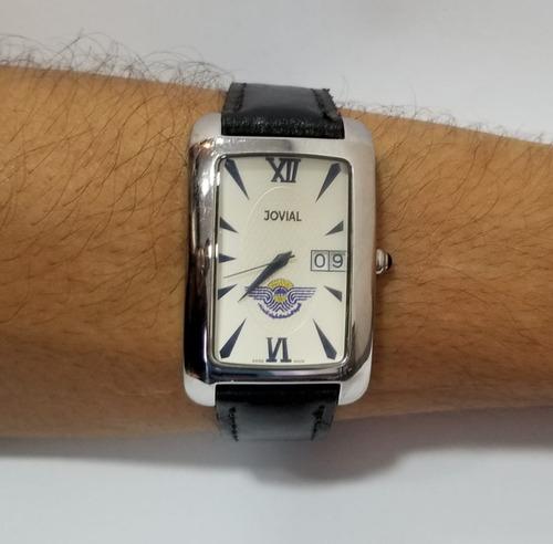 Relógio Suíco Jovial 4503m Ss-bk Prateado Pulseira Couro