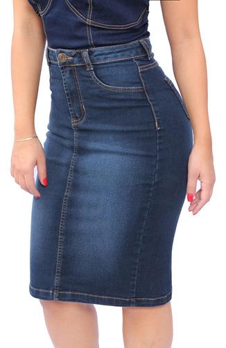 Saia Midi Jeans Social Evangelica Cintura Alta Lycra Luxo