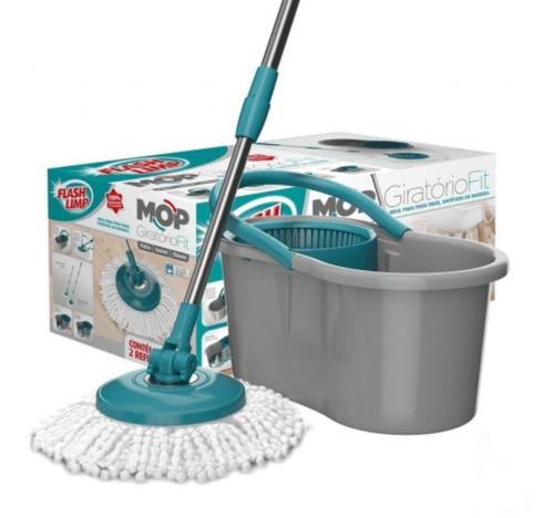 Vassoura Mop Giratória Balde Centrifugador Limpeza Difícil