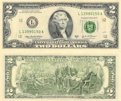 Billete Usa 2 Dolares Original Buena Suerte Condición Nuevo