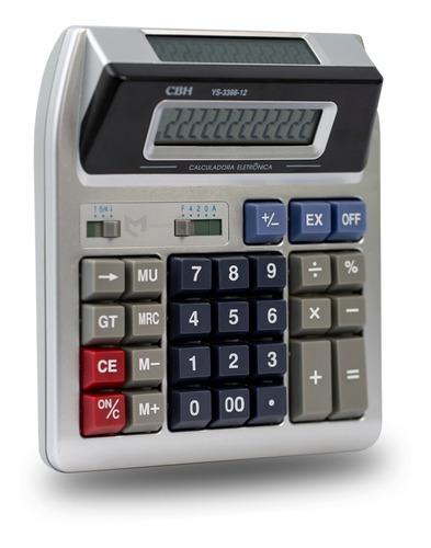 Calculadora Eletrônica 2 Visores 12 Dígitos Escritório