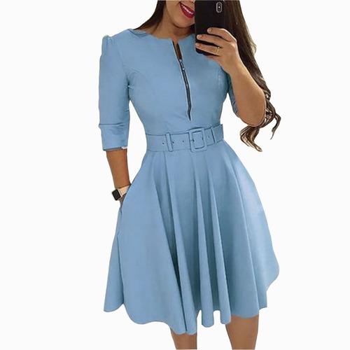 Vestido  Moda Evangelica Rodado Gode Midi Ziper