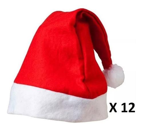 Gorrito Gorro Papa Noel Navidad Felpa Oferta Promo Pack X12