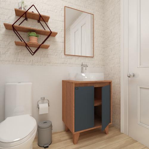 Balcão Gabinete Banheiro Multifuncional Anny Mazzu 60cm