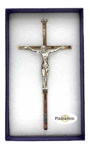 Crucifixo De Parede Todo Em Metal Aço Inox 16cm Cruz Cristo