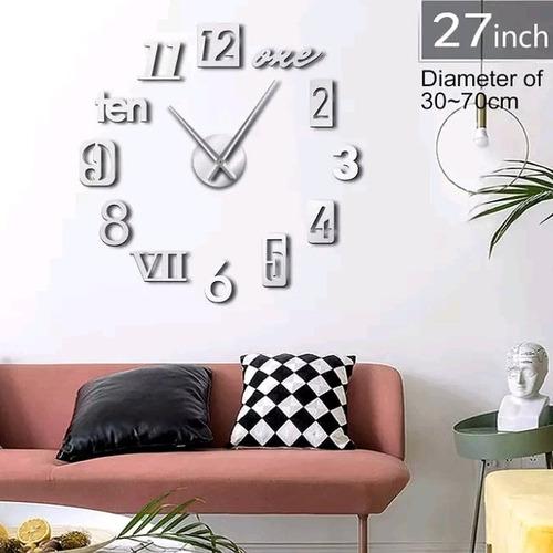 Reloj De Pared 3d Tamaño Mini 50 X 50 Cm Color Plateado