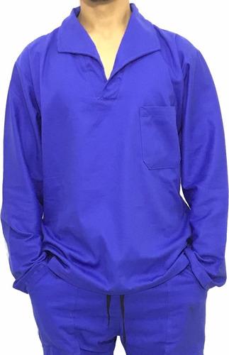 Camisa Brim Manga Longa Jaleco Uniforme Azul Royal