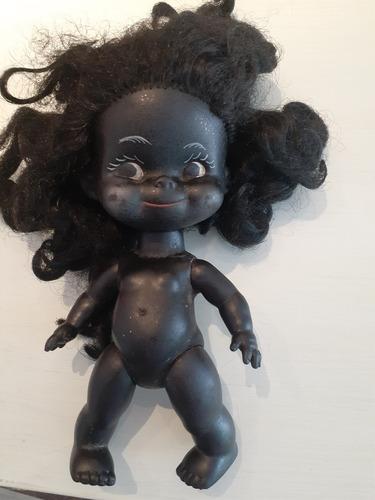 Antigua Muñeca Negra De Goma Articulada 23 Cm