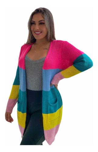 Kimono Cardigan Casaco Listrado Colorido Rainbow Inverno2021