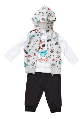 Conjunto Baby Menino Camiseta/calça/colete Elian