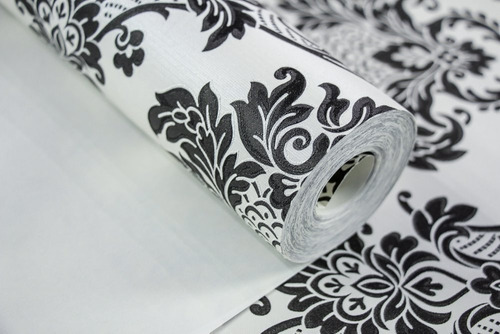 Papel De Parede Branco Off White Arabescos Preto Top 10m Original
