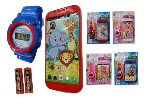 Brinquedo Telefone Celular Musical + Relógio Infantil Pilhas