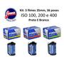 Kit 3 Filmes 35mm Preto E Branco 36 Poses: Iso 100, 200, 400