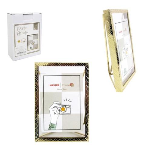 Porta Retrato 10x15 Moldura De Metal Vertical Dourado