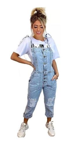 Macacão Jardineira Pantacourt Bolsos Jeans Botões Blogueiras