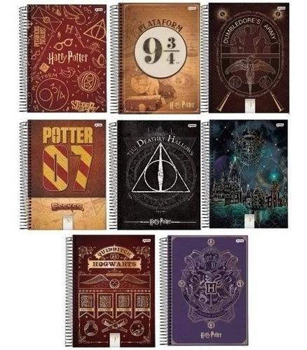 Kit 4 Cadernos Harry Potter Espiral 96 Folhas Harry Potter