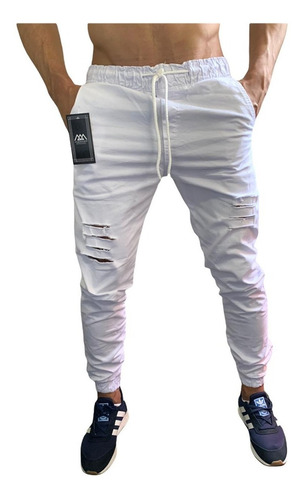Calça Jeans Masculina Jogger Punho Elastico Rasgada Destroye