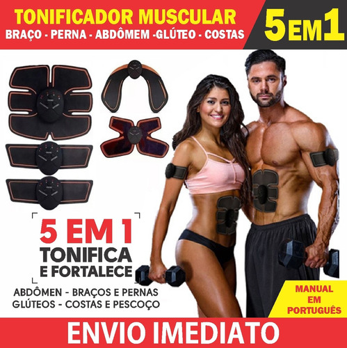 Tonificador 5 Em 1 Muscular Abdominal Estimulo Eletrico Novo