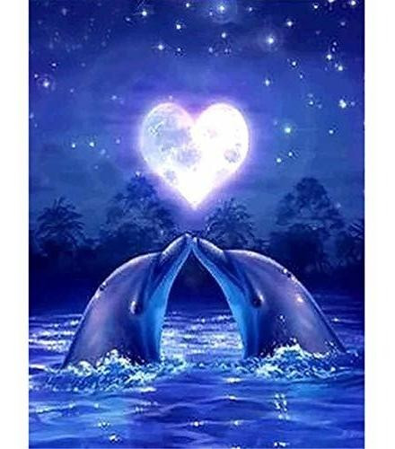 Diy 5d Dolphins Diamond Painting By Number Kit Para Adultos,