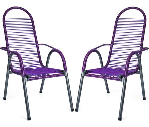 Kit 2 Cadeiras Area Varanda Espaguete Colorido
