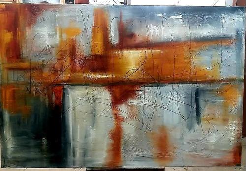 Quadro Abstrato Pintado A Mão Em Painel Medindo 80x120