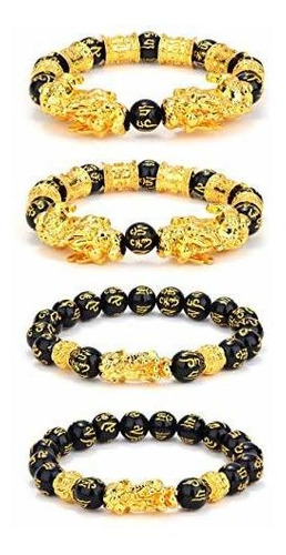 4 Piezas Feng Shui Negro Obsidiana Brazalete De Riqueza...