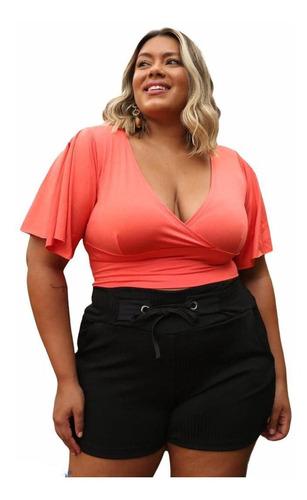 Blusa Femininas Plus Size Cropped Com Decote Transpassado